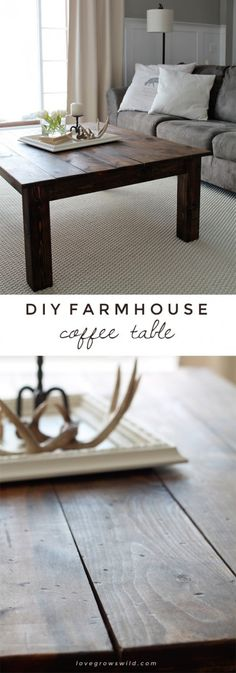 Learn how to build this rustic wood farmhouse coffee table! Full supply list and tutorial! Diy Farmhouse Coffee Table, Decor, Home Diy, Wood Farmhouse Coffee Table, Diy Furniture, Furniture, Home Furniture, Diy Decor, Coffee Table Farmhouse