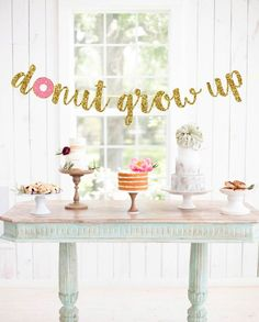 Excited to share this item from my shop: Donut Grow Up Banner - Donut Birthday Party - Donut Banner - Donut Decoration -Donut Party Decor 3rd Birthday Party For Girls, Donut Birthday Parties, First Birthday Themes, First Birthday Brunch, 1st Birthday Party Ideas For Girls, Third Birthday, Donut Party, Donut Decorations, Oh Deer