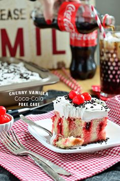 Coca-Cola mixed with cherry gelatin makes this rich Cherry Vanilla Coke Poke Cake full of flavor in every bite. #HomeBowlHeroContest