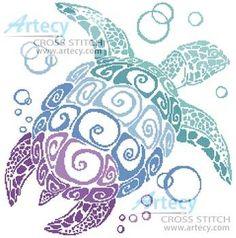 Turtle Silhouette cross stitch pattern.