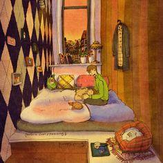 Eu caí no sono em seu colo. Você gostaria que eu cantasse uma canção de ninar? O quê você acha que eu sou? Um bebê? Ok, talvez uma curtinha.