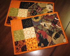 Set of 2 Mug Rugs  Pumpkin Pie - six patch with matching amount on side. Easy quilting.