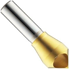 The #Magafor 4811 series cobalt steel single-end countersink with a TiN coating creates a 90-degree conical opening that accepts a flat-head fastener so it sits ...