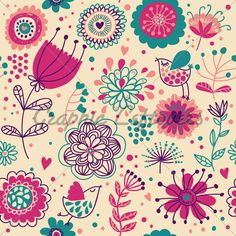 Cartoon Summer Floral Seamless Pattern With Cut...