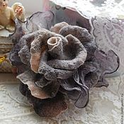 "Handmade Jewelry.  Fair Masters - handmade brooch Grey Rose ""The London morning.""  Handmade."