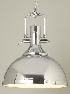 BHS // Illuminate // Siri pendant // Chrome camera style diner pendant with frosted glass diffuser