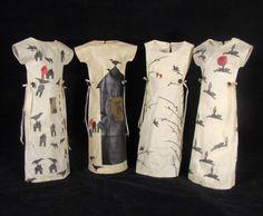 "Karen Halt -- ""Four Sisters"" (sculpture)    Hand painted cotton dipped in beeswax    each figure 20"" x 6"" x 5"" ,"