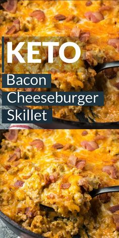 This One Pan Keto Bacon Cheeseburger Skillet is under 4 net carbs and is loaded with ground beef, bacon, a creamy sauce and cheese! This keto dinner is ready in under 20 minutes! dinner for picky eaters Keto Bacon Cheeseburger Skillet Healthy Dinner Recipes, Low Carb Recipes, Diet Recipes, Breakfast Recipes, Chicken Recipes, Slimfast Recipes, Dessert Recipes, Breakfast Gravy, Breakfast Ideas