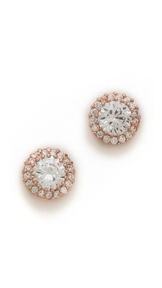 pave trim stud post earrings / kenneth jay lane