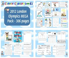 ★ 2012 London Olympics MEGA Pack Unit - 306 pages - Includes a 79p EBook, games, posters, pictures, activities, web quests, sentence joiners and more. http://www.teacherspayteachers.com/Product/2012-London-Olympics-MEGA-Pack-Unit-306-pages