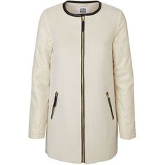 Vero Moda Long Sleeved Jacket (115 CAD) ❤ liked on Polyvore featuring outerwear, jackets, white asparagus, padded jacket, vero moda jacket, pocket jacket, zip pocket jacket and tall jackets