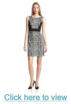 Anne Klein Women's Plaid Ponte Sheath Dress #Anne #Klein #Womens #Plaid #Ponte #Sheath #Dress