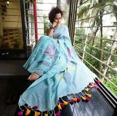 Floored with tassels saree Saree Blouse Patterns, Saree Blouse Designs, Saree Poses, Saree Tassels, Simple Sarees, Saree Photoshoot, Saree Trends, Stylish Sarees, Saree Look