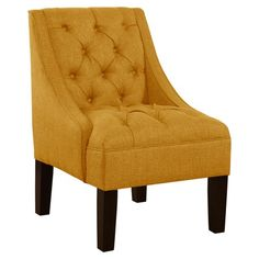Sandra Tufted Arm Chair in Yellow