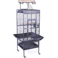 Yaheetech Pet Supply Wrought Iron Parrot Bird Cage Playtop Cockatiel Cockatoo Cage (Black)