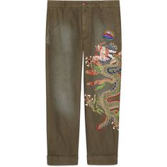 Gucci Cotton Loose Chino With Appliqués ($1,315) ❤ liked on Polyvore featuring men's fashion, men's clothing, men's pants, men's casual pants, cotton, denim, men, ready-to-wear, mens chino pants and mens olive pants