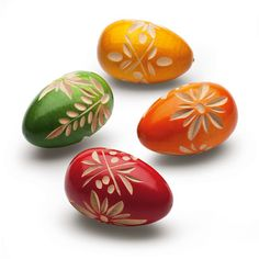 Hand carved wooden eggs