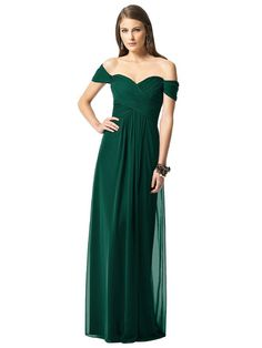 Dessy 2844 Bridesmaid Dress in Emerald Green in Chiffon