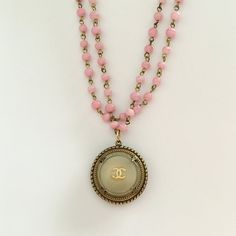 Cream vintage Chanel button necklace