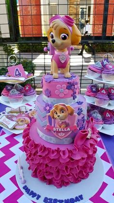 Personalized Pink Paw Patrol party supplies and party hire equipment. Have a one-of-a-kind Pink Paw Patrol party for your little girl with our custom made party decor. Paw Patrol Girl Party, Girls Paw Patrol Cake, Paw Patrol Party Supplies, Paw Patrol Birthday Girl, Paw Patrol Torte, Skye Paw Patrol Cake, Sky Paw Patrol, Bday Girl, Birthday Cake Girls