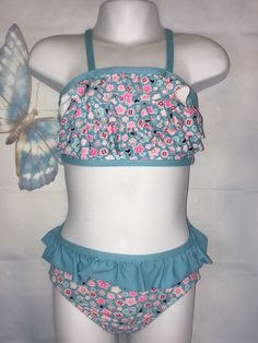 Girl's Joe Boxer Blue Floral Ruffled Two Piece Bikini Swimsuit Size 2T  | eBay