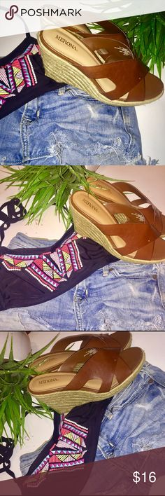 ☀️ Brown Backless Wedge Sandals Brown backless wedge sandals    - brown leather like straps  - Pullover, hoodie  - Perfect condition. EUC, hardly ever worn.  - basket weaved wedge  - super comfortable to wear and walk in  - size 6 - Merona By Target  - approx. 2 in. Heel height Merona Shoes Wedges