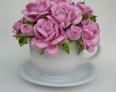 Xícara Decorada com Flores em Eva                                                                                                                                                                                 Mais