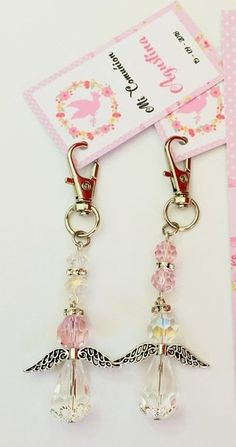 Crystal Angel Keychain Beautiful Angel K - Diy Crafts - Marecipe Pearl Baby Shower, Baby Shower Gifts, Baby Pearls, Communion Gifts, Baptism Favors, Diy Keychain, Jewelry Crafts, Beaded Jewelry, Jewelry Tags
