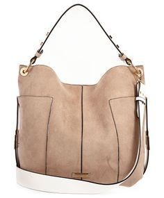 beige contrast panel slouch handbag by River Island. Contrast panelling Slouchy shape Snap fastening Shoulder straps RI branding Height 33cm, width 47cm, Handle drop 22cm...