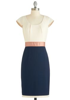A Whole Neutral Outlook Dress - Mid-length, Blue, Pink, White, Work, Sheath / Shift, Cap Sleeves, Pleats, Exclusives