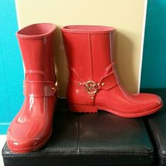 NIB MK Fulton Harness Rainbootie Great for a pop of color in any outfit on a rainy/gloomy day;) Splash in style and turn heads in this red MK rainbootie with gold logo embossed hardware. Rubber upper, pull-on construction, synthetic lining and lightly cushioned footbed. MICHAEL Michael Kors Shoes Winter & Rain Boots