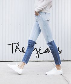 two tone skinny denim jeans not sure if I like them or hate them. How To Wear Jeans, All Jeans, Skinny Jeans, Denim Jeans, Patched Jeans, Estilo Fashion, Denim Fashion, Look Fashion, Fashion Pants