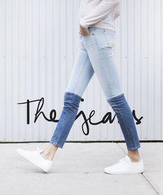 two tone skinny denim jeans not sure if I like them or hate them. Estilo Fashion, Look Fashion, Diy Fashion, Ideias Fashion, Fashion Trends, Fashion News, Jeans Fashion, Fashion Clothes, Street Fashion