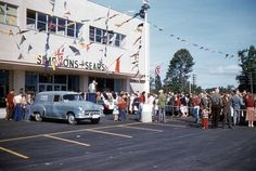 Thanks to Scott Cisco for sending us these terrific photos from his parents slide collection of the Simpsons-Sears store opening in Peterborough on August 1954 . Also included below is a photo of the store under construction. Peterborough Ontario, The Simpsons, Historical Photos, The Past, Street View, Vintage Stuff, Instagram, 1960s, Restaurants