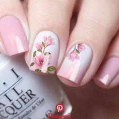 Easy DIY Valentines Nail Designs for Short Nails – Seze Pink Nail Art, Cute Acrylic Nails, Nail Art Toes, Floral Nail Art, Nail Nail, Nail Polishes, Fancy Nails, My Nails, Fancy Nail Art
