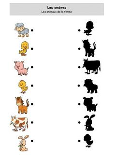 Shadows of farm animals Preschool Activity Books, Preschool Learning Activities, Toddler Preschool, Toddler Activities, Preschool Activities, Kids Learning, Fun Worksheets For Kids, Kindergarten Worksheets, Community Helpers Preschool