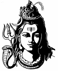 Goddess Kali is often depicted as standing on her husband, Lord Shiva with her tongue let out. Read the story that led to Kali stepping on Shiva. Kali is the mighty aspect of Durga. Arte Shiva, Shiva Art, Hindu Art, Shiva Shakti, Face Pencil Drawing, Pencil Drawings, Pencil Art, Drawing Step, Lord Shiva Sketch