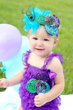 Petti Lace Romper Purple Peacock With Options -1st Birthday-Photo Shoot-Cake Smash-Wedding-Flower Girl-Pageant Wear on Etsy, $12.95