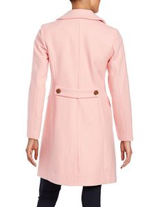 "<ul> <li>Chic collared layer shaped in a warm wool blend</li> <li>Notched collar</li> <li>Long sleeves</li> <li>Button front</li> <li>Princess seams</li> <li>Front flap pockets</li> <li>Back vent</li> <li>Fully lined</li> <li>About 35"" from shoulder to hem</li> <li>Wool/polyester</li> <li>Dry clean<&#..."