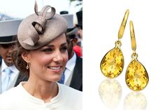 Kate Middleton Citrine Gold Teardrop Earrings #jewelry