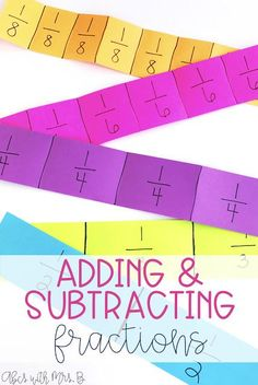 Teaching students how to add fractions can be tough in grade! Using these fractions strips with like denominators gives students a lot of practice and solid understanding! 4th Grade Fractions, Teaching Fractions, Fourth Grade Math, Maths, Teaching Math, Math Classroom, Future Classroom, Classroom Ideas, Adding Fractions