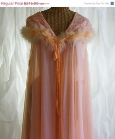 Vintage Jenelle Of California Double Chiffon Pink Peachy Marabou Feathers and Lace Peignoir Robe Sweeping 160 Inches Floor Length P. $182.75, via Etsy.