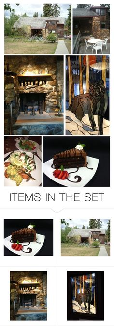 """""""Not Far From the University Was the Wolf Run Restaurant, With a Cozy Log Cabin Feel & Stained Glass Door…He Ordered Salmon With Salad & Sides & Chocolate Coffee Toffee Cake for Dessert…He Went Back to the Hotel & Texted Tess, Who Called Back"""" by maggie-johnston ❤ liked on Polyvore featuring art"""