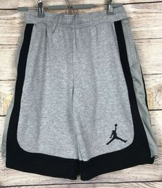 f50d00736b3 Details about Nike Air Jordan Shorts Boys Size L Large - Black W/ Gray