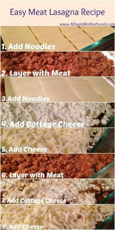 Easy beef lasagna recipe - Mom use to make it with cottage cheese!