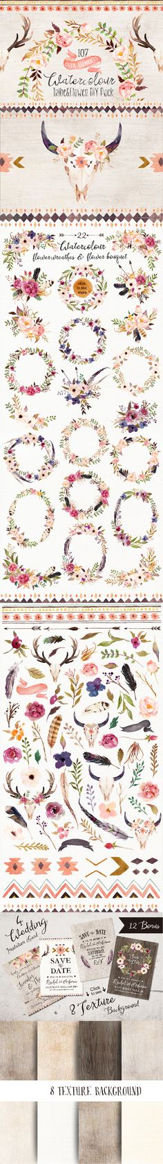 These are big watercolour flower collection,over 107 graphic elements.include:florals,floral wreathes,floral bouquets,leaves,feathers,tribal elements,deer,bull,ribbon,ethnic border,branches,grass.Can be used for various purposes.such as logos, wedding invitation, t-shirt, label, badges ,greetings,packaging, stationery, merchandise, posters, websites, digital presentations and more....you can DIY anything your want! :)