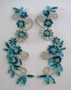 Turquoise and silver flower spray pair. Sequin Appliques, Flower Spray, Silver Flowers, Belly Dance, Dance Costumes, Burlesque, Creations, Sequins, Brooch