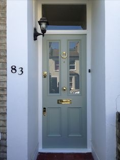 Fabulous Victorian front door in Farrow & Ball's Blue Gray no. 91 in exterior eggshell. For door furniture click below: http://www.priorsrec.co.uk/original-brass-letter-plate-/p-3-33-34-111