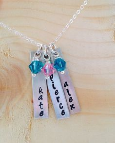 Name Necklace Birthstone Necklace Personalized Necklace -  Mommy Gift - Gift for Her - Mommy Keepsake Tag Necklace