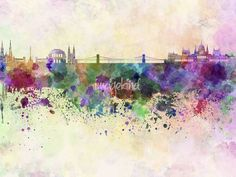 Budapest-skyline-in-watercolor-background_art.jpg (650×488)